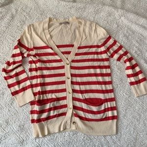 Size XS Cardigan Cream and Red Stripes GAP EUC